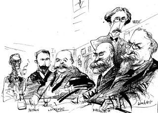 Alexandre Lacassagne et ses amis criminologues vu par Jean-Pierre Cagnat DR